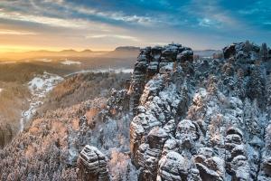 Wintermorgen im Elbsandstein