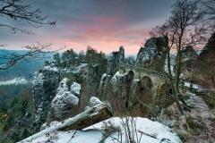 Basteibrücke im leichten Winterkleid