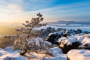 Vordere Schrammsteinkette im Winter