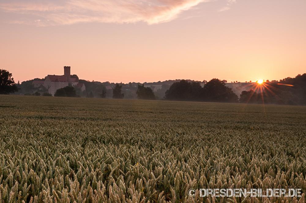 Sonnenaufgang über der Burg Gnandstein